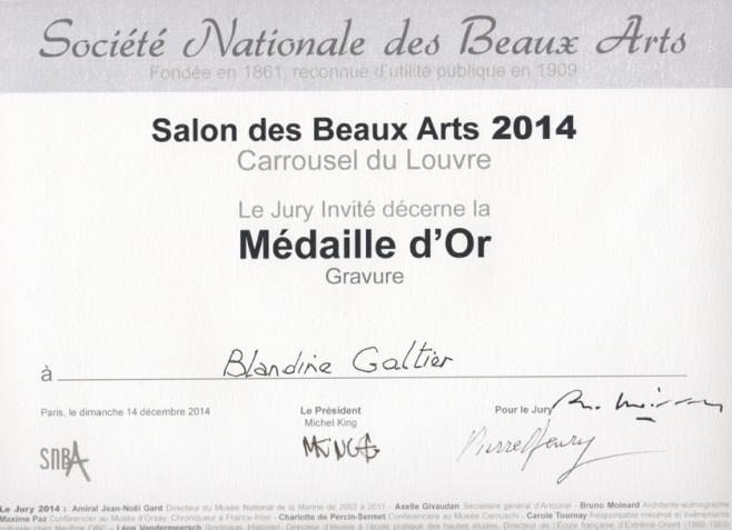blandne galtier graveur, non toxique, gravure, etching, médaille d'or salon SNBA 2014